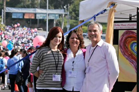 "Debbie Marie, Steve & Katie Arambula at ""Inspirational Vortex"", Susan G. Komen ""Race for the Cure"", Dodger Stadium"
