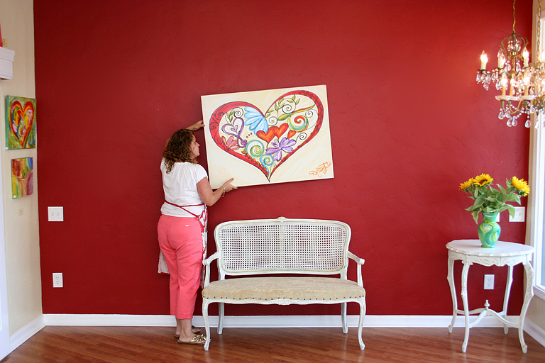 Red, Blue, puple, green multi colored_ Heart Art Painting on Red Wall