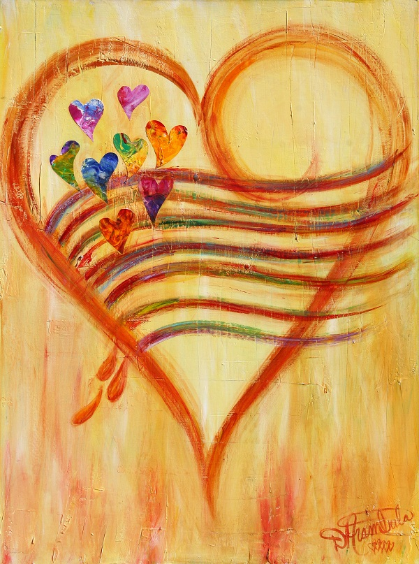 Brown Yellowish with rainbow of colorful floating hearts