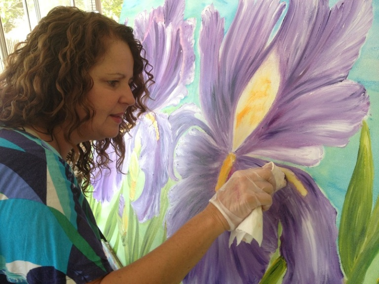 Debbie Marie Painting oil with her hands