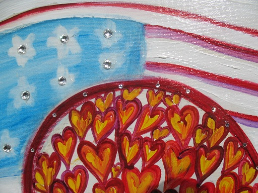 """Not Forgotten"" red, white and blue Heart Art. Patriotic love and pride by Debbie Arambula"