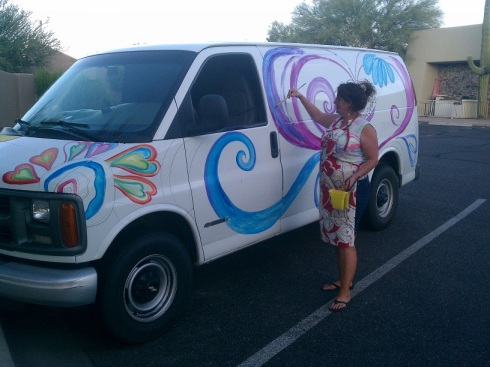 Debbie Painting Van in Arizona