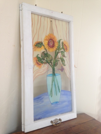 blue vase with yellow sunflowers green leafs reverse glass painting by debbie Arambula