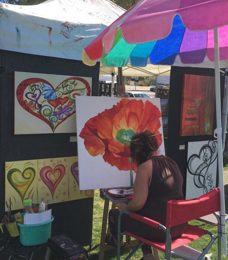 """Souls Inspiration"" red orange poppy acrylic painting"