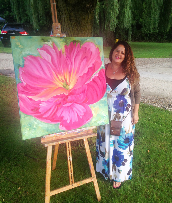 """Awakening"" Pink Peony Oil Painting on canvas by Debbie Arambula"