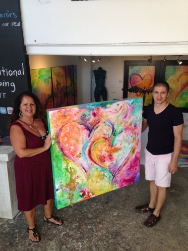 """Eternal Friendship"" Mixed Media on canvas by Debbie Arambula and Ivan Guaderrama Two Heart Artist creating a master piece together"
